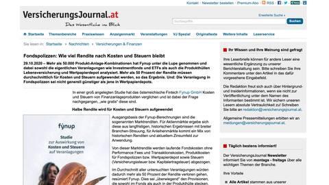 VersicherungsJournal.at berichtet über fynup Studie
